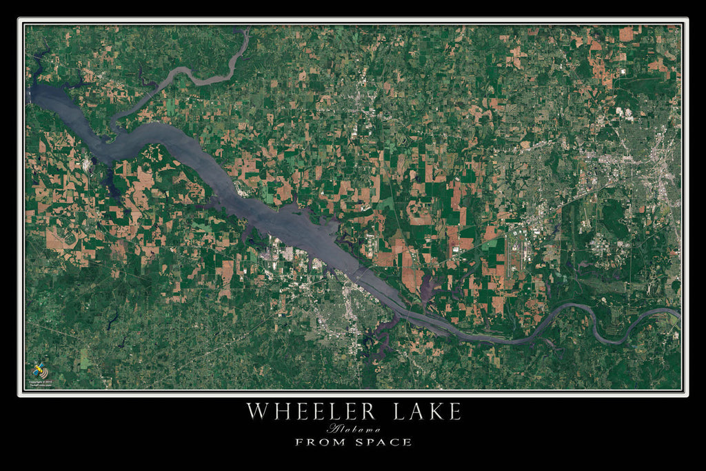 Wheeler Lake Alabama Satellite Poster Map - TerraPrints.com