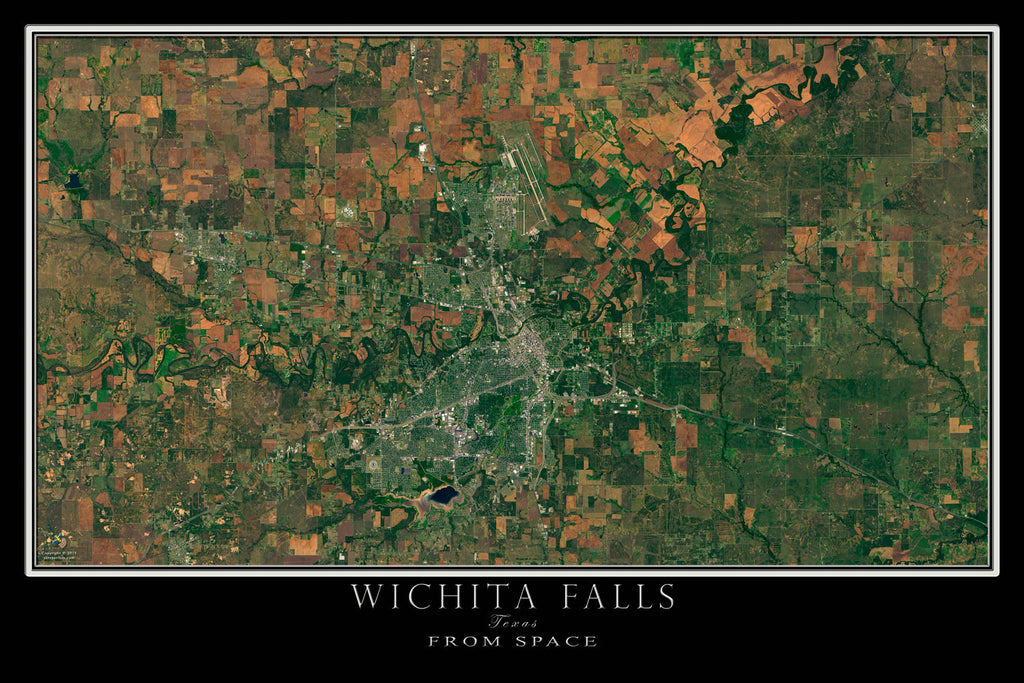 Wichita Falls Texas From Space Satellite Poster Map - TerraPrints.com