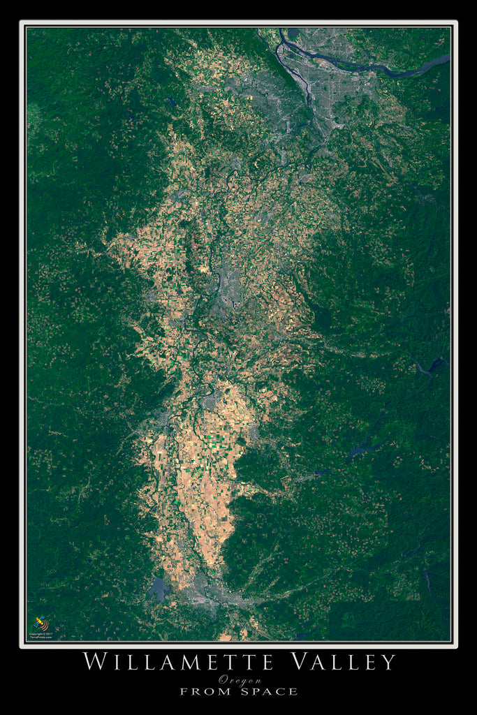Willamette Valley Oregon Satellite Poster Map