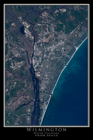 The Wilmington North Carolina Satellite Poster Map