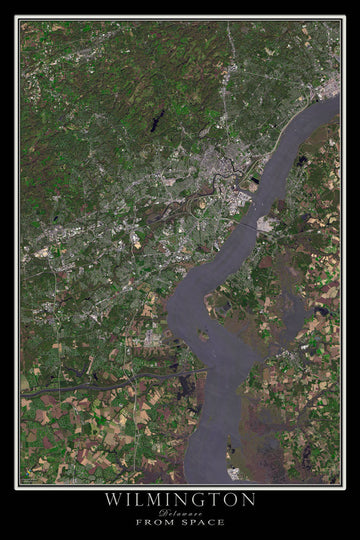 Wilmington Delaware Satellite Poster Map - TerraPrints.com