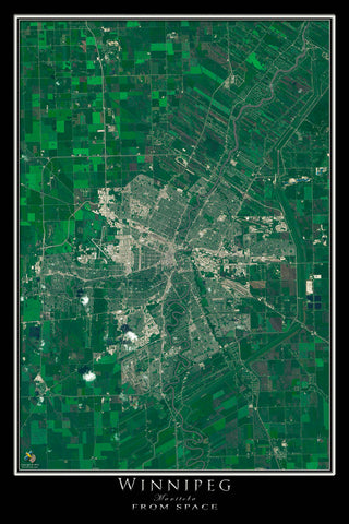 Winnipeg Manitoba From Space Satellite Poster Map - TerraPrints.com
