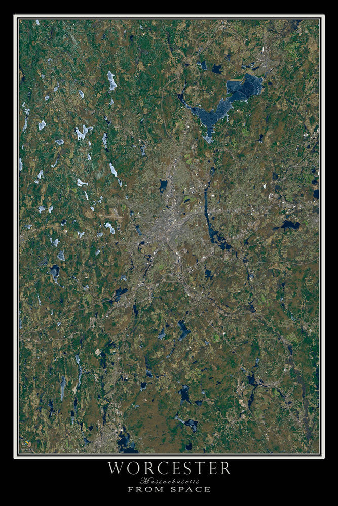 Worcester Massachusetts Satellite Poster Map - TerraPrints.com