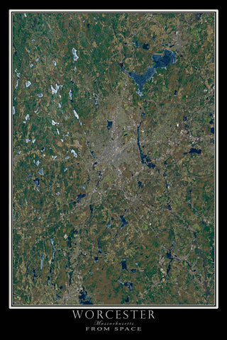 Worcester Massachusetts From Space Satellite Poster Map - TerraPrints.com