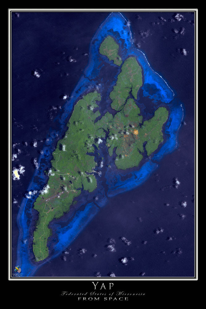 Yap Micronesia Satellite Poster Map - TerraPrints.com