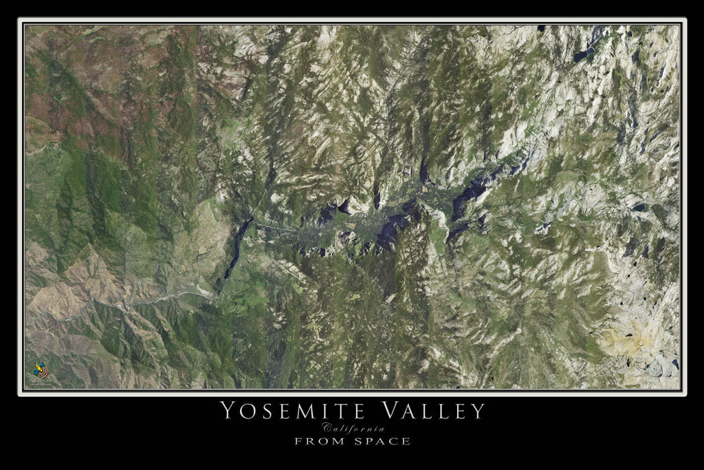 Yosemite National Park California From Space Satellite Poster Map