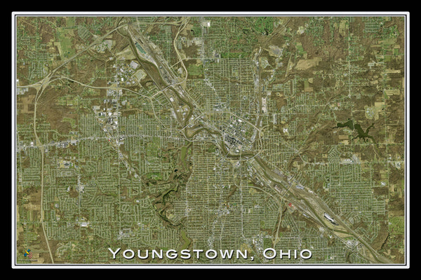 Youngstown Ohio From Space Satellite Poster Map by TerraPrints.com. Available in multiple sizes with free shipping in the USA.