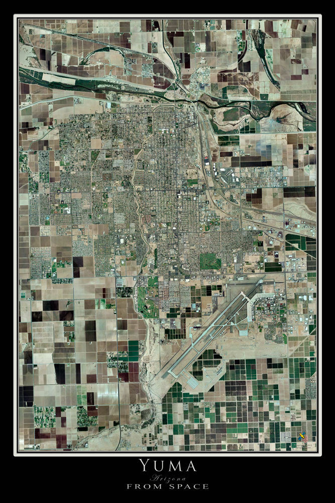 Yuma Arizona From Space Satellite Poster Map by TerraPrints.com. Available in multiple sizes with free shipping in the USA.