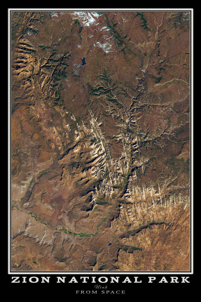 Zion National Park Utah From Space Satellite Poster Map by TerraPrints.com. Available in multiple sizes with free shipping in the USA.