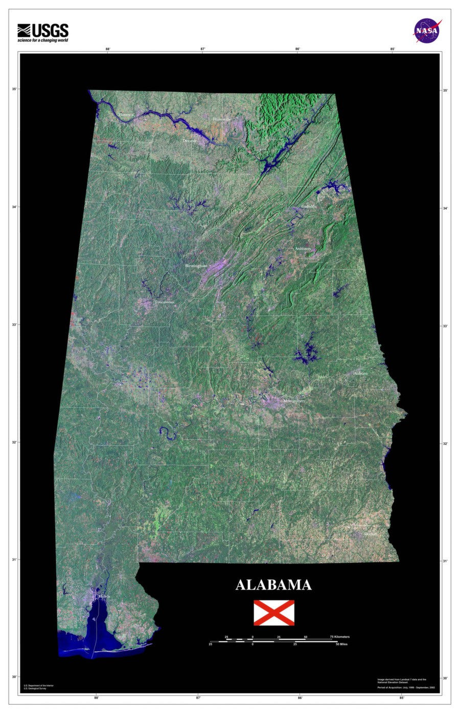 Alabama Satellite Imagery State Map Poster - TerraPrints.com