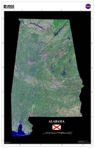 Alabama From Space Satellite Poster Map - TerraPrints.com