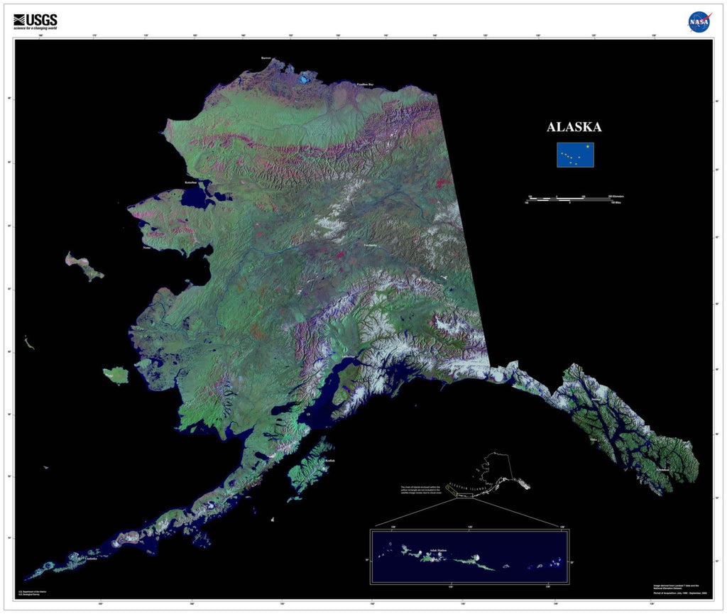 Alaska Satellite Imagery State Map Poster - TerraPrints.com
