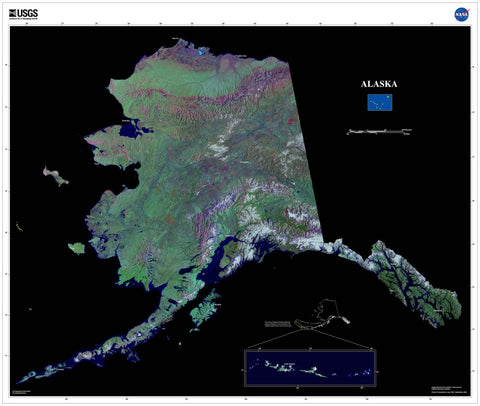 Alaska From Space Satellite Poster Map - TerraPrints.com