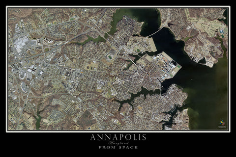 Annapolis Maryland From Space Satellite Poster Map - TerraPrints.com
