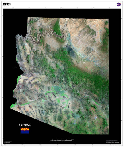 Arizona From Space Satellite Poster Map - TerraPrints.com