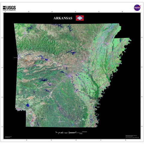 Arkansas From Space Satellite Poster Map - TerraPrints.com