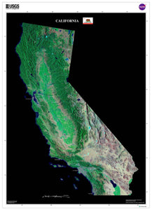 California Satellite Imagery State Map Poster - TerraPrints.com