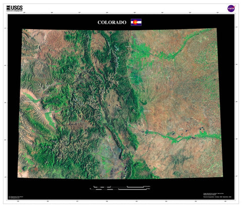 Colorado Satellite Imagery State Map Poster - TerraPrints.com