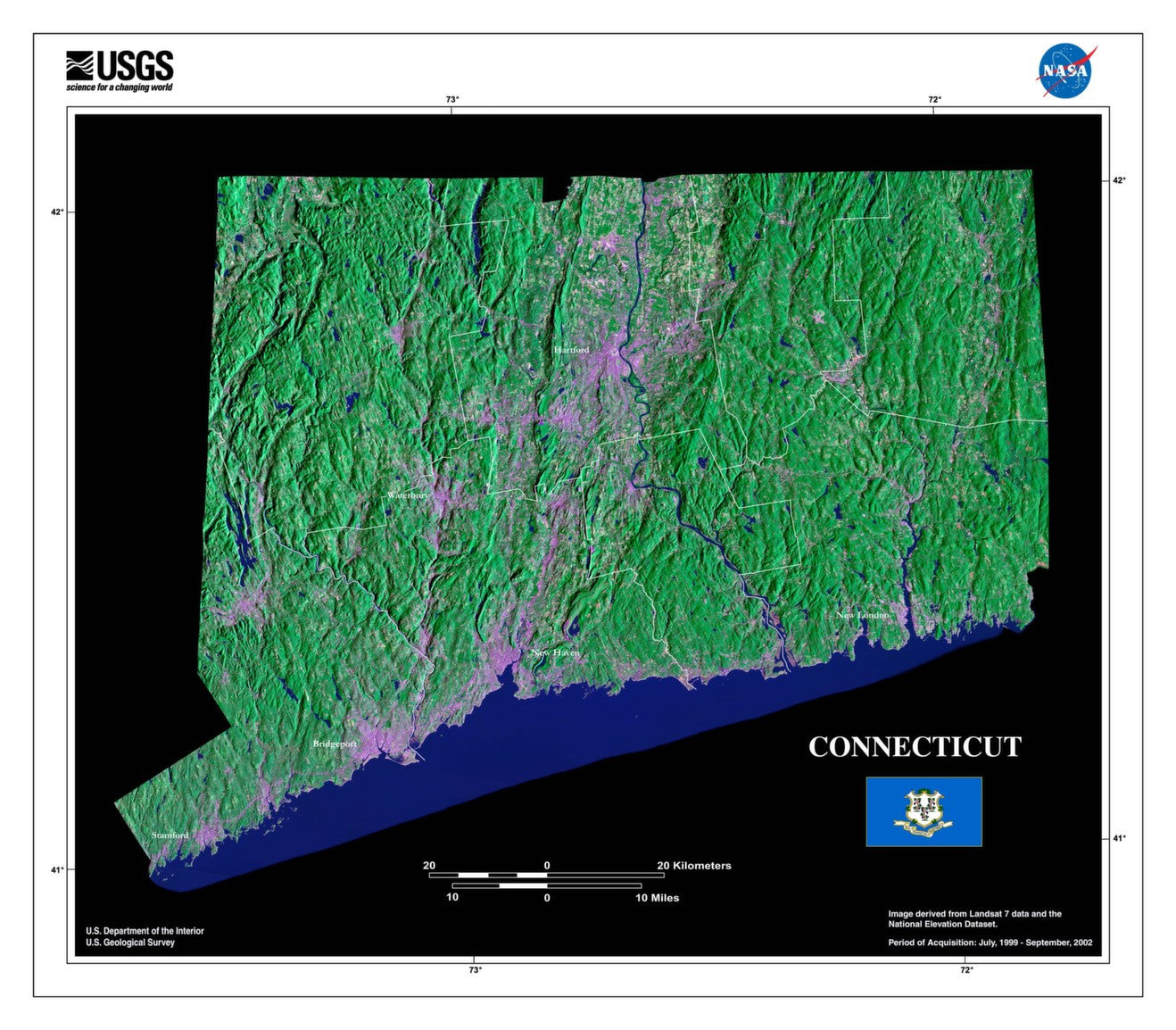 Connecticut Satellite Imagery State Map Poster - TerraPrints.com