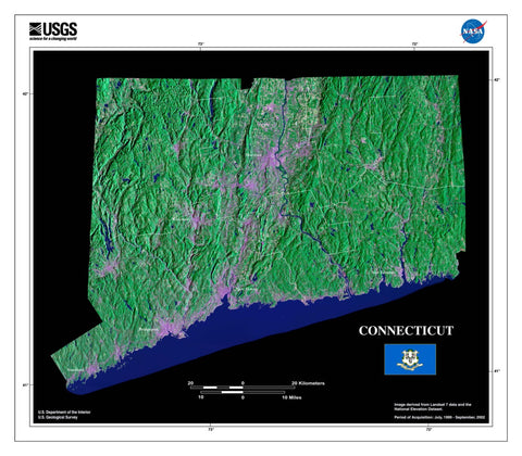 Connecticut From Space Satellite Poster Map - TerraPrints.com