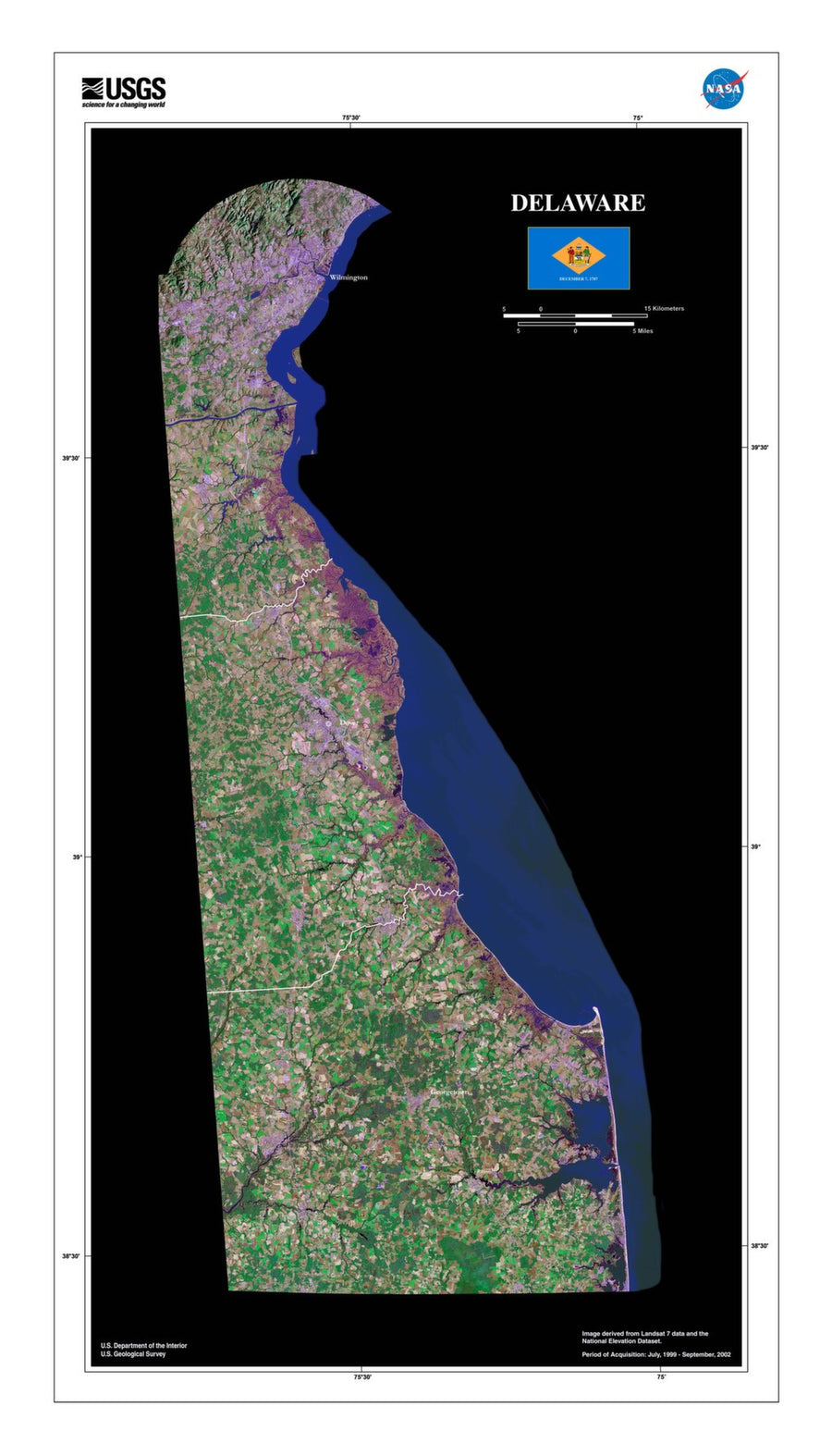 Delaware Satellite Imagery State Map Poster - TerraPrints.com
