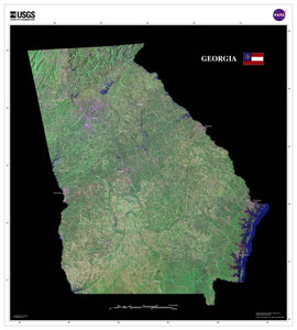Georgia Satellite Imagery State Map Poster - TerraPrints.com