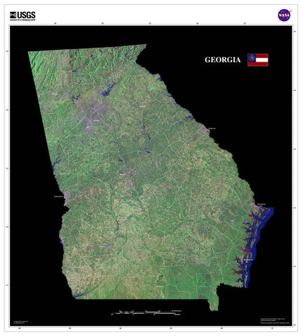 Georgia From Space Satellite Poster Map - TerraPrints.com