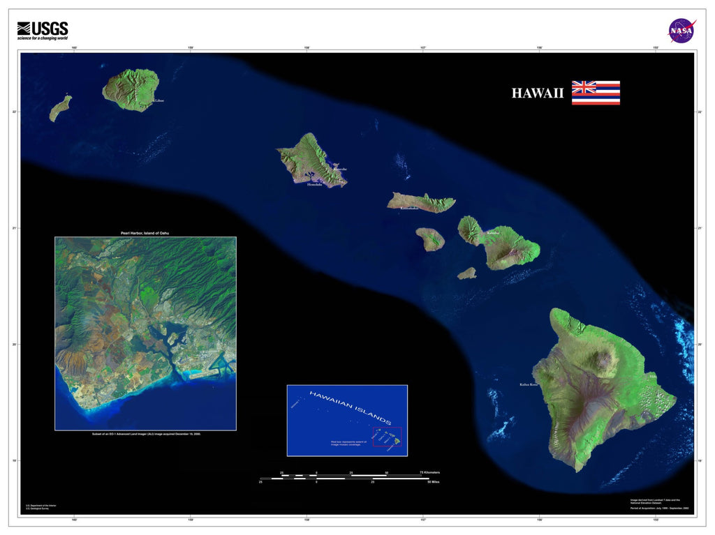 Hawaii Satellite Imagery State Map Poster - TerraPrints.com