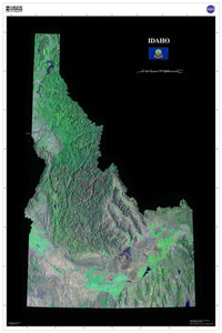 Idaho Satellite Imagery State Map Poster - TerraPrints.com