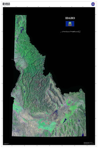 Idaho From Space Satellite Poster Map - TerraPrints.com