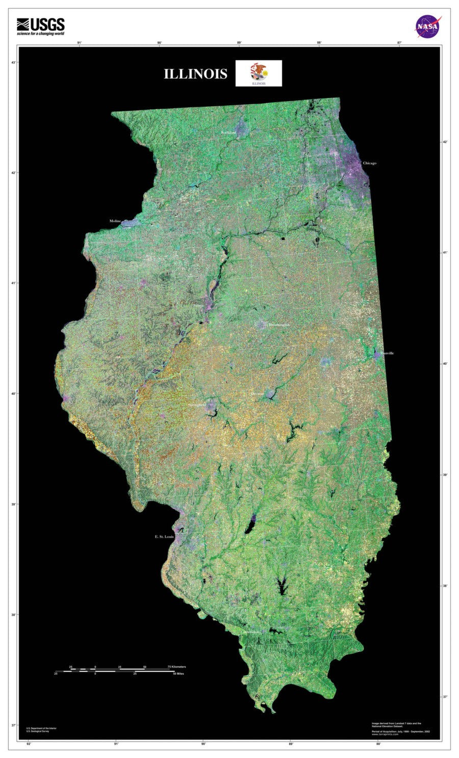Illinois Satellite Imagery State Map Poster - TerraPrints.com