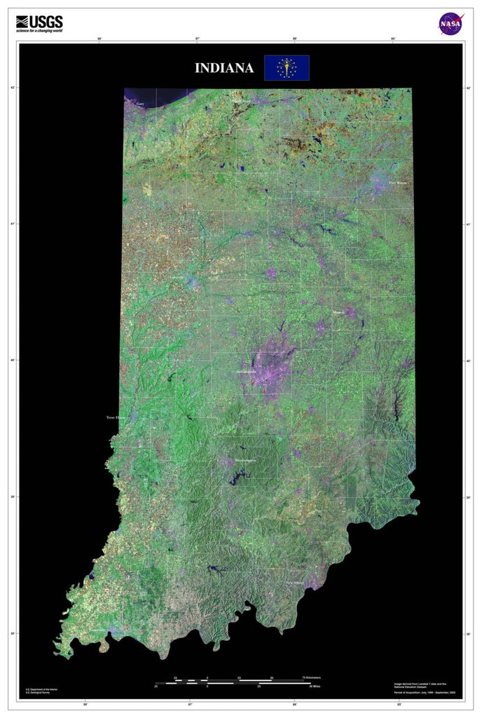 Indiana Satellite Imagery State Map Poster by TerraPrints.com. Available in multiple sizes with free shipping in the USA.