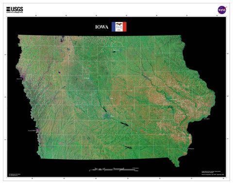Iowa From Space Satellite Poster Map - TerraPrints.com