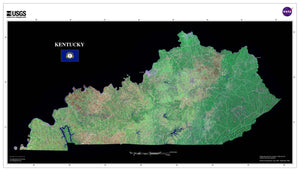 Kentucky Satellite Imagery State Map Poster by TerraPrints.com. Available in multiple sizes with free shipping in the USA.