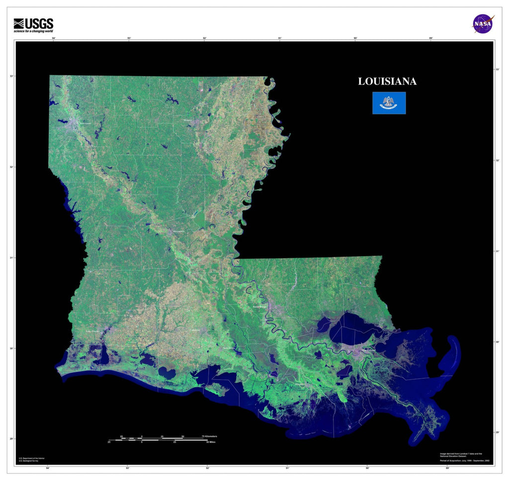 Louisiana Satellite Imagery State Map Poster by TerraPrints.com. Available in multiple sizes with free shipping in the USA.