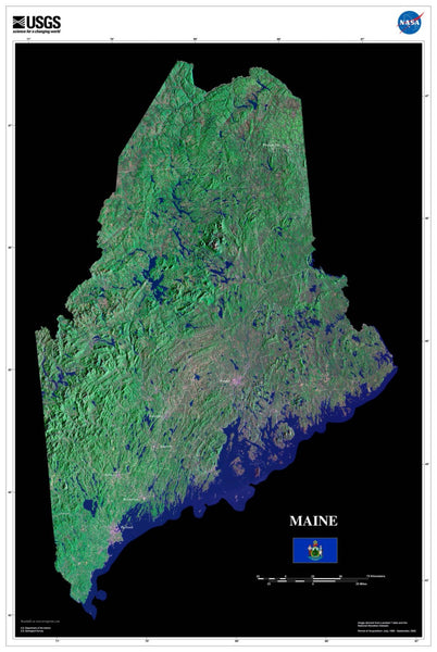 maine satellite poster map aerial views  space satellite images satellite map  wall