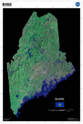 Maine From Space Satellite Poster Map - TerraPrints.com