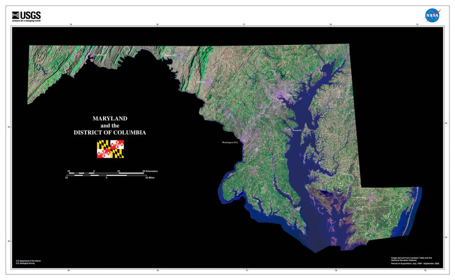 Maryland Satellite Imagery State Map Poster by TerraPrints.com. Available in multiple sizes with free shipping in the USA.