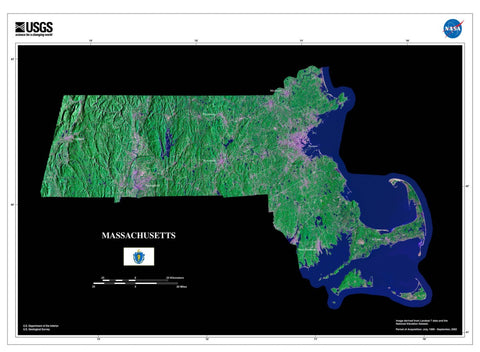 Massachusetts From Space Satellite Poster Map - TerraPrints.com