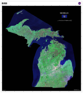 Michigan Satellite Imagery State Map Poster by TerraPrints.com. Available in multiple sizes with free shipping in the USA.