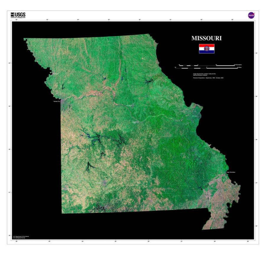 Missouri Satellite Imagery State Map Poster - TerraPrints.com
