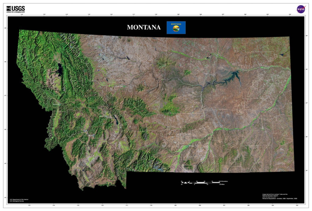 Montana Satellite Poster Map — aerial views, from space ...