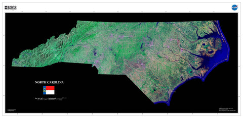 North Carolina Satellite Imagery State Map Poster by TerraPrints.com. Available in multiple sizes with free shipping in the USA.