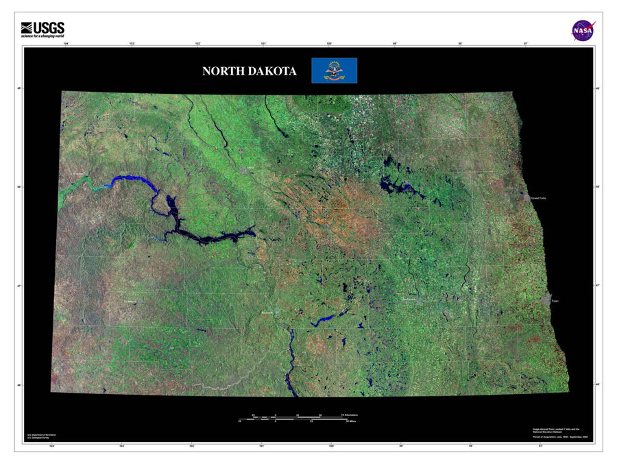 North Dakota Satellite Imagery State Map Poster - TerraPrints.com