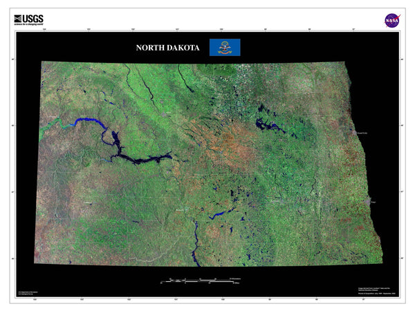 North Dakota Satellite Poster Map — aerial views, from ...