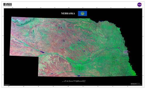 Nebraska Satellite Imagery State Map Poster - TerraPrints.com