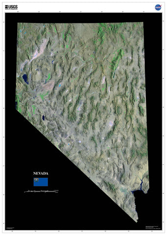 Nevada Satellite Imagery State Map Poster - TerraPrints.com