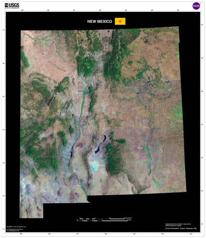 New Mexico From Space Satellite Poster Map - TerraPrints.com