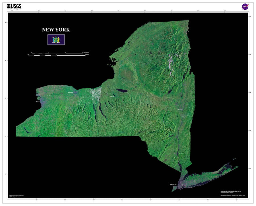 New York Satellite Imagery State Map Poster by TerraPrints.com. Available in multiple sizes with free shipping in the USA.