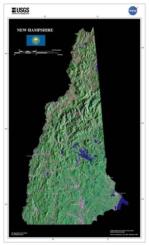 New Hampshire Satellite Imagery State Map Poster by TerraPrints.com. Available in multiple sizes with free shipping in the USA.